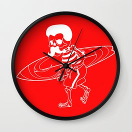 Surfing Skeleton Funny Mexico Surfboard Gift Wall Clock