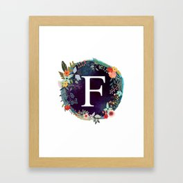 Personalized Monogram Initial Letter F Floral Wreath Artwork Framed Art Print