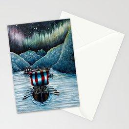Drakkar in Norse Fjord Ft. Aurora Borealis Stationery Cards