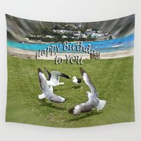 happy birthday Wall Tapestries featuring Happy Birthday by CrismanArt