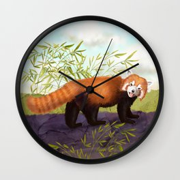 The Little Red Panda Wall Clock