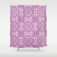 wallpaper Shower Curtains featuring Pink kaleidoscope wallpaper by David Zydd
