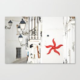 white&red mediterráneo Canvas Print