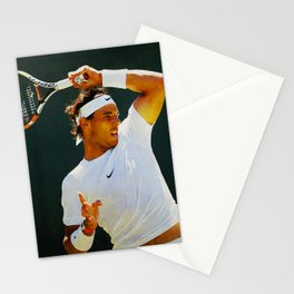 Nadal Tennis Over the Head Forehand Stationery Cards