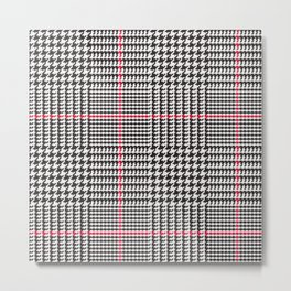 Black and White Glen Plaid with Red Stripe Metal Print