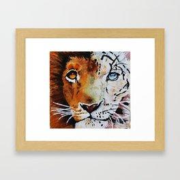 lion/snow leopard Framed Art Print