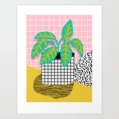 Get Real - potted plant throwback retro neon 1980s style art print minimal abstract grid lines shape Art Print