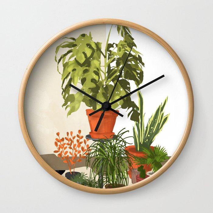 Plant Pots Wall Clock