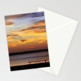 Sitting on the Bench by the Lake Stationery Cards