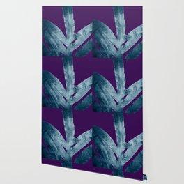 Midnight Sepia Navy Blue Purple Fern Wallpaper