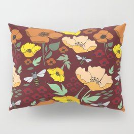 Flower Petals and Bees Maroon Pillow Sham