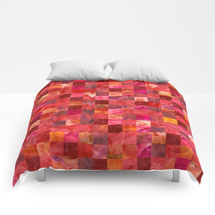 Red Geometric Pattern Comforters