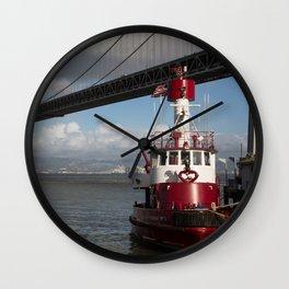 Bay Bridge Fire Boat  Wall Clock