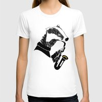 badger T-shirts featuring Badger Saxophone by mailboxdisco