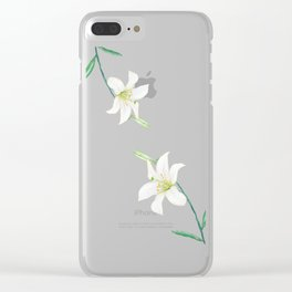 white lily watercolor Clear iPhone Case