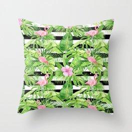 Flamingo Stripes Throw Pillow