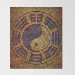 Purple Yin Yang Sign on Granite Throw Blanket