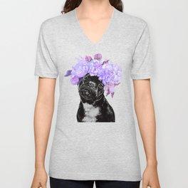 Bulldog with Flowers Crown Unisex V-Neck