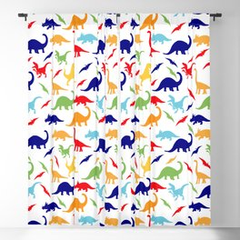 Colorful Dinos in Green, Grey, Red, Blue Yellow Blackout Curtain