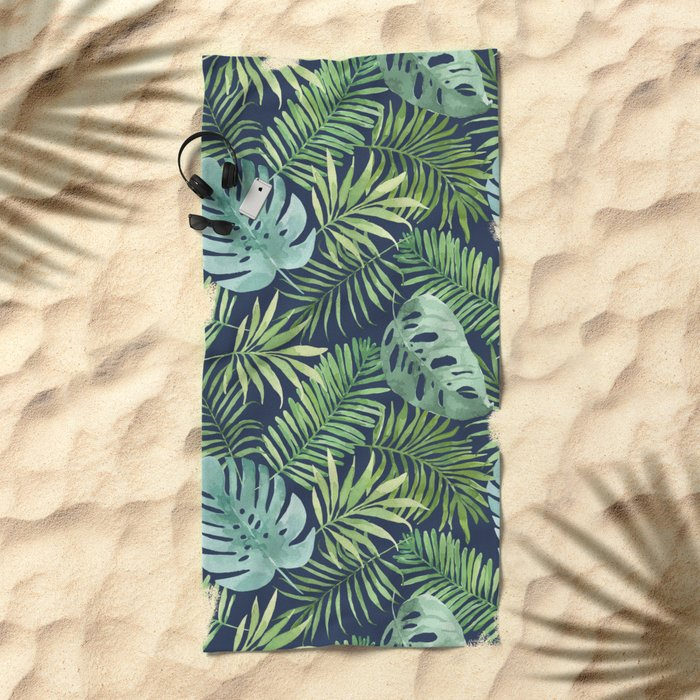 Tropical Branches on Dark Pattern 06 Beach Towel