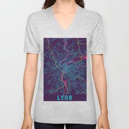 Lyon Neon City Map, Lyon Minimalist City Map Unisex V-Neck