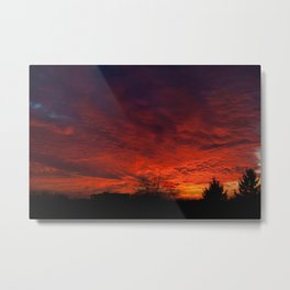 Red sunset and trees silhouette in Warsaw Metal Print