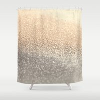 elephant Shower Curtains featuring  GOLD by Monika Strigel