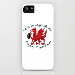 The Red Dragon Inspires Action Green Text iPhone Case