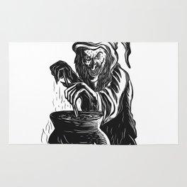 Witch Stirring Brew Pot Scratchboard Rug