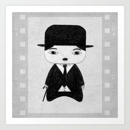 A Boy - Charlie Chaplin (B&W) Art Print