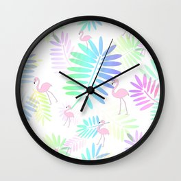 Tropical Pink Flamingos Wall Clock