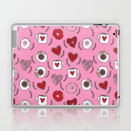 Valentines donuts and coffee cute gifts for love valentine andrea lauren Laptop & iPad Skin
