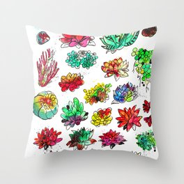 Watercolor Succulents Throw Pillow