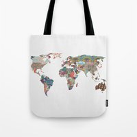vintage map Tote Bags featuring Louis Armstrong Told Us So by Bianca Green