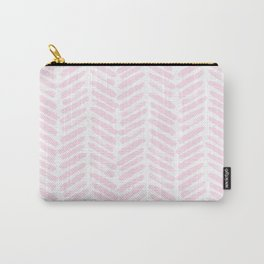 Handpainted Chevron pattern light pink stripes Carry-All Pouch