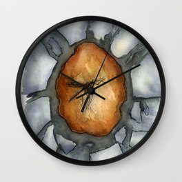 Amber Inclusion Watercolor Wall Clock