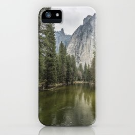 Cathedral Rocks and Spires behind Merced River iPhone Case