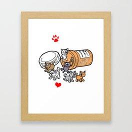 HAPPY PILLS Cats Kitten Kittys Love Vet Cartoon Framed Art Print