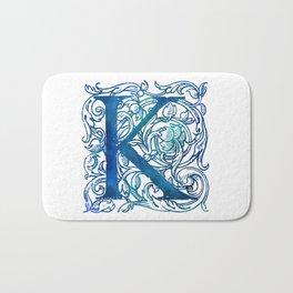 Letter K Antique Floral Letterpress Bath Mat