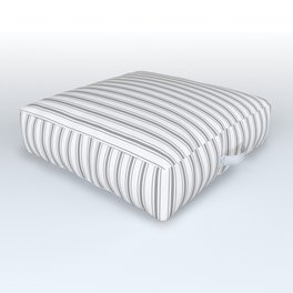 Mattress Ticking Narrow Striped Pattern in Charcoal Grey and White Outdoor Floor Cushion