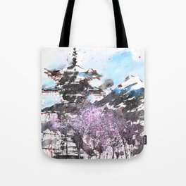 Combination No.32 Spring time Mt.Fuji and Pagoda in Japan Tote Bag