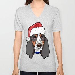 Basset Hound Dog Christmas Hat Unisex V-Neck