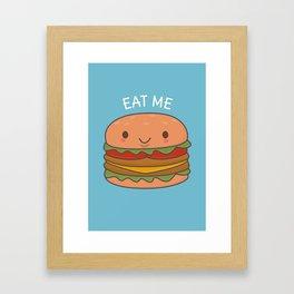 Kawaii Cute Burger Framed Art Print