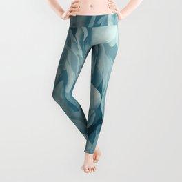 Soft Baby Blue Petal Ruffles Abstract Leggings