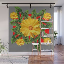 GREY & RED YELLOW COREOPSIS FLORAL ART DESIGN Wall Mural