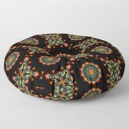 Green and Orange Christmas Mosaic Flower Mandala Pattern Floor Pillow