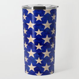 Gold stars on a dark blue background. Travel Mug
