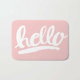 Hello Hand lettering - Pink Bath Mat