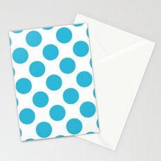 Cyan Vivid Arctic Blue Dots Large Stationery Cards