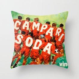 Vintage 1970 Soccer Motif Campari Soda Advertisement by Pijoan Throw Pillow